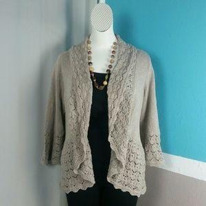 Croft & Barrow Crochet Oatmeal Cardi Sweater XL